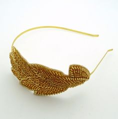 Leaves of gold beaded headband fascinator by onehappygirl on Etsy, $25.00