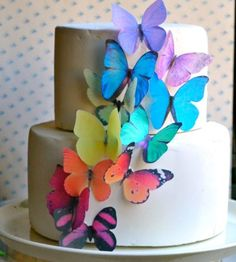 Edible Butterflies © -Large Rainbow Variety Set of 12 - Cake and Cupcake Toppers