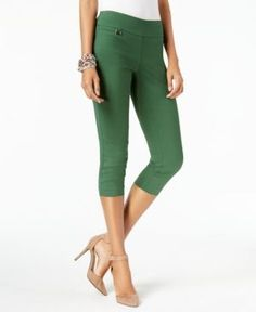 Alfani Petite Tummy-Control Pull-On Capri Pants, Created for Macy's - Green 10P