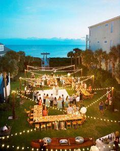wedding reception ideas with string lighting