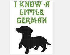 I Know a Little German Dachshund Wiener Dog Funny Cross Stitch Pattern