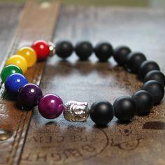 7 Chakra Bracelet Black Agate Amethyst  Jade by AgouraDesign