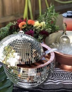 Disco Ball Punch Bowl ~ Custom Champagne Bowl ~ Disco Ball Centerpiece ~ - Products - The Dallas Media Disco Birthday Party, 70s Party, Party Time, Disco Party Decorations, New Years Eve Decorations, Disco Theme Parties, New Years Eve Weddings, New Years Eve Party, Garden And Gun Magazine