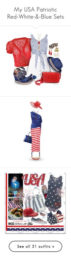 """""""My USA Patriotic Red-White-&-Blue Sets"""" by pwhiteaurora ❤ liked on Polyvore featuring Miss Selfridge, Olivia Miller, Barts, Costa, BaubleBar, Kendra Scott, LC Lauren Conrad, MICHELA, Brooks Brothers and Versace"""