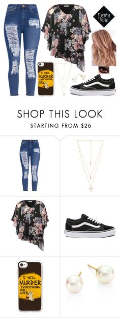 """""""Death Note Inspired"""" by lucy-wolf ❤ liked on Polyvore featuring Natalie B, M&Co, Vans, Casetify and Majorica"""