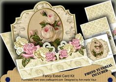 Cream Roses 3D Easel Card Mini Kit on Craftsuprint designed by Ann-marie Vaux - I have designed this kit to make a 'wow' card. The card is approx 8inches in size so its a nice big size and you get everything you need to create it. This kit will make it look as if you have spent a great deal of time on an amazing card but really it is quick and easy to make. In this kit you get..1 x Sheet with Base Card