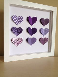 Purple Heart 3D Paper Art perfect for a new baby or by PaperLine