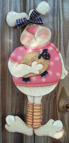 Handpainted Bunny and Sheep Hanger by stephskeepsakes on Etsy