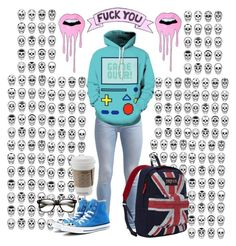 """""""F*ck You"""" by thaisa-tcs ❤ liked on Polyvore featuring 7 For All Mankind, JanSport and Converse"""