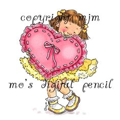 Browse All Stamps - Page 65 - Mo's Digital Pencil Kids Girls, Little Girls, Mighty Oaks, Mo Manning, Mo S, Cookie Designs, White Image, Applique Patterns, Heart Art