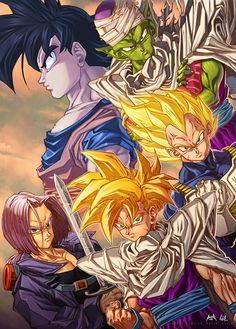 Vegeta, Goku, Gohan, Trunks, and Piccolo