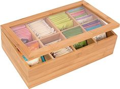 Trademark Innovations Bamboo Tea Storage Box with Clear Lid, Brown(Wood) Tea Storage, Kitchen Storage, Kitchen Tools, Cute Storage Boxes, Storage Bins, Wood Projects, Woodworking Projects, Woodworking Jointer, Woodworking Supplies