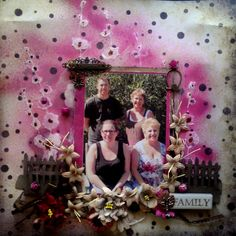 Layout using texture paste over a flower template, sprayed with Black Cherry Glimmer Mist, my2angels charms, charming word, family tiles, fence die and coordinating flowers  All products are available from www.my2angels.net