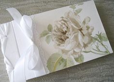 Wedding Guest Book White English Rose Vintage inspired by Daisyblu, $52.00