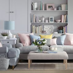 Neutral Living Room   Pastels Colour With Cozy Sofas And Footstool