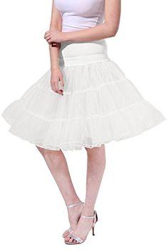054eb0aeeb6f7 Poplarboy Women s Vintage Rockabilly Petticoat Skirt Tull 1950s Underskirt  Size L-XL White