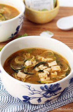 Jazz up miso soup with green tea and zucchini noodles