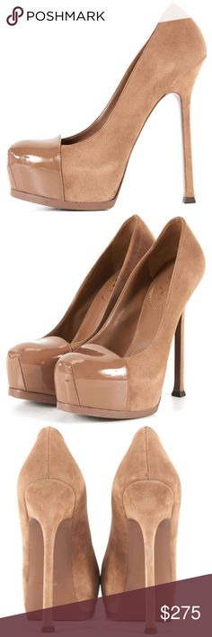 """YSL Tribtoo 105 Cap Toe Suede Tan Platform Pumps Gorgeous YSL heels! Crafted in a beige suede with patent leather toe caps. This color is subtle enough to wear with anything; I would put this in the """"nude"""" category which goes with everything and makes your legs look oh so long. 6"""" heels with a built in platform to make you taller yet walking is a cinch.   Excellent condition. Light wear to suede and outer soles. Comes with dust bag and extra heel taps. No box.  Size EU 38.5. US 8.5; runs a…"""