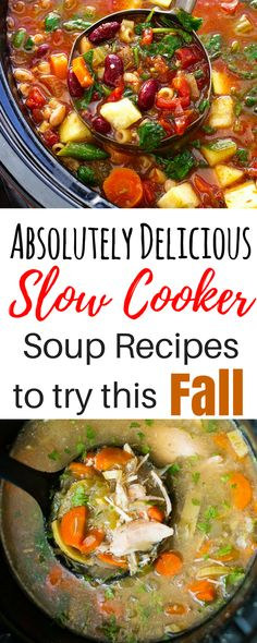 These 8 slow cooker soup recipes are all so healthy and delicious! I'm so glad I found this roundup with recipes for vegetarian tomato detox, chicken noodle, beef, potato, bean, and even easy Mexican soup! These awesome fall Crockpot recipes are THE BEST easy, healthy, and affordable options for your busy life!