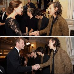 Duchess Catherine and Prince William meeting One Directions Harry Styles!