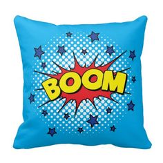 Comic Book Style Colorful BOOM Pillow   Bright blue, red and yellow graphic art popart, comic book style cartoon speech bubble printed pillow cushion.