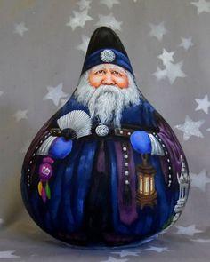 Korean Grandfather Santa Santa Haraboji hand painted gourd | Etsy Decorative Gourds, Hand Painted Gourds, Stone Lantern, Gourds Birdhouse, Gourd Art, Bird Houses, Flower Pots, Christmas Bulbs, Christmas Crafts