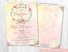 Flor bautismo invitación • primavera verano Floral bautismo, bautizo, dedicación, primer invitación de comunión para imprimir
