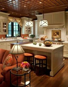Creamy White / Burnt Orange/ love the ceiling for additional warmth