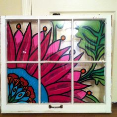 how to paint shabby chic flowers on old windows Old Window Art, Window Pane Art, Window Paint, Window Frames, Painting On Glass Windows, Painting On Wood, Mosaic Glass, Glass Art, Stained Glass