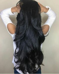 Natural Color Peruvian Virgin Hair Body Wave 3 Bundles With 360 Lace Remy Human Hair Extensions Long Dark Hair, Black Curly Hair, Thick Hair, Beautiful Long Hair, Gorgeous Hair, Beautiful Body, Body Wave Hair, Hair Weft, Human Hair Extensions