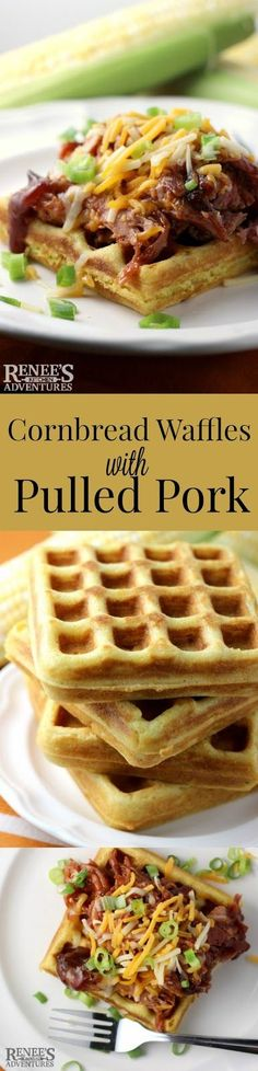 Cornbread Waffles with Pulled Pork Recipe by Renee's Kitchen Adventures! Crispy cornbread waffles topped with saucy pulled pork, cheddar cheese and green onions! Waffle Maker Recipes, Waffle Toppings, Waffle Waffle, Pork Recipes, Mexican Food Recipes, Cooking Recipes, Easy Recipes, Mexican Drinks, Recipies