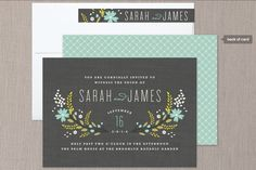 """This invite looks balanced to me - I like the florals - maybe with some coral added in? I like the blue color of these flowers.  I think our wedding colors will be coral & this bluish color.  My only concern is that the """"chalkboard"""" gray color may be too dark for an invite."""