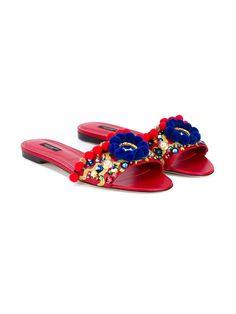 Dolce & Gabbana pom-pom embellished mules