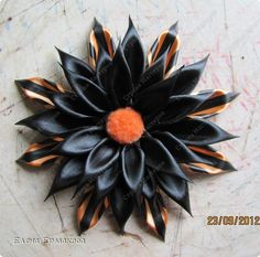 FLOWER, PETAL AND MOUNTING TUTORIAL Master class Tsumami Kanzashi: Promised MK-back side of the belt.  Photo 17