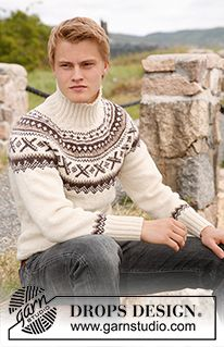 "Ivalo - Knitted DROPS jumper for men with round yoke and Norwegian pattern in ""Karisma"". Size: S to XXXL. - Free pattern by DROPS Design"