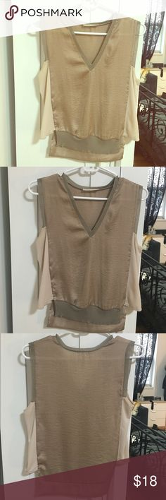 Zara taupe/blush synthetic silky sleeveless top Zara blush top. Front and back have a shiny satin like finish and sides are a silky blush. Great for work or going out. Worn only a handful of times. Zara Tops Blouses