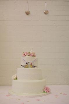 Bunting Cake Decorations,Vintage Jewellery Details, Handmade Weddings, May Wedding, Spring Wedding, Vintage, Chalk Lane Hotel, Tadworth Village Hall, Surrey, Rebecca Douglas Photography