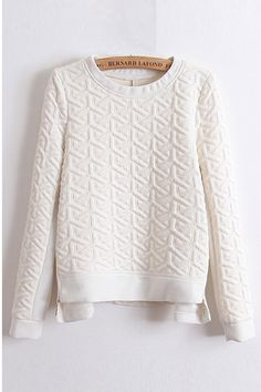 Awesome Detailing! Love the texture and stitched design! Double-zipper Embossed Pullover White Sweatshirt #white #textured #fashion