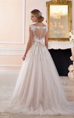 6349 Romantic Ball Gown with Keyhole Back Wedding Dress by Stella York