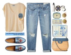 """""""Faded Sun"""" by sazyc ❤ liked on Polyvore featuring rag & bone/JEAN, Gucci, Humanoid, Chanel, Kikkerland, ASOS, Blue, boyfriendjeans, beige and gucci"""