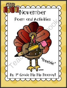 November Poem and Activities...Freebie from First Grade Hip Hip Hooray on TeachersNotebook.com (6 pages)