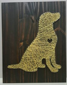 , This adorable dog string art sign would be an adorable gift for a dog lover! , This adorable dog string art sign would be an adorable gift for a dog lover! I can do any kind of dog any color, with or without the heart, just send . Nail String Art, String Crafts, String Art Heart, Dog Crafts, Cute Crafts, Arte Linear, String Art Patterns, Ideias Diy, Thread Art