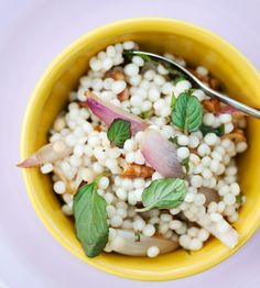Pearl Couscous Salad with Mint and Pecans (could sub whole wheat pearl couscous) from The Kitchn