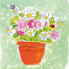 Een pot bloemen met vlinder en lieveheersbeestje
