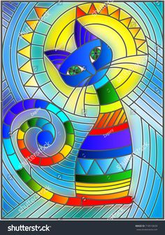 Imagens, fotos stock e vetores similares de Illustration in stained glass style with abstract red geometric cat - 714225499 Stained Glass Designs, Stained Glass Patterns, Stained Glass Art, Geometric Cat, Cat Quilt, Arte Pop, Whimsical Art, Fabric Painting, Painting Art