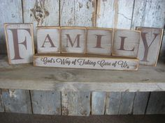 RUSTIC Wood Block Set 7pc FAMILY God's Way of by ExpressionsNmore, $31.95
