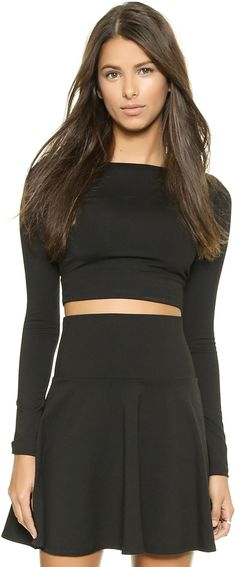 Susana Monaco Scoop Back Crop Top Cropped Tops, Black Crop Tops, Chelsea Leyland, Plus Size Sweaters, Sweater Skirt, Fashion Dresses, Mini Skirts, Two Piece Skirt Set, My Style
