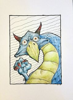 Dragoosler - Art by Krowe (Jake Perez) Pen, Art, Ink, Humanoid Sketch, Draw, Dragon, How To Draw Hands, Original Artwork