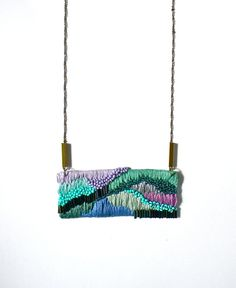 Hand embroidered Necklace / Green, Purple, Mint &Turquoise / Embroidered Pendant Statement Necklace on Etsy, $98.00