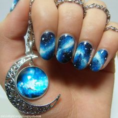 Galaxy Nails Inspired By Gorgeous Necklace. Awesome Nail Designs, Crazy Nail Designs, Beautiful Nail Designs, Pictures Of Nail Designs, Cute Designs, Beautiful Nail Art, Cute Nail Art, Nail Art Designs, Tattoo Designs